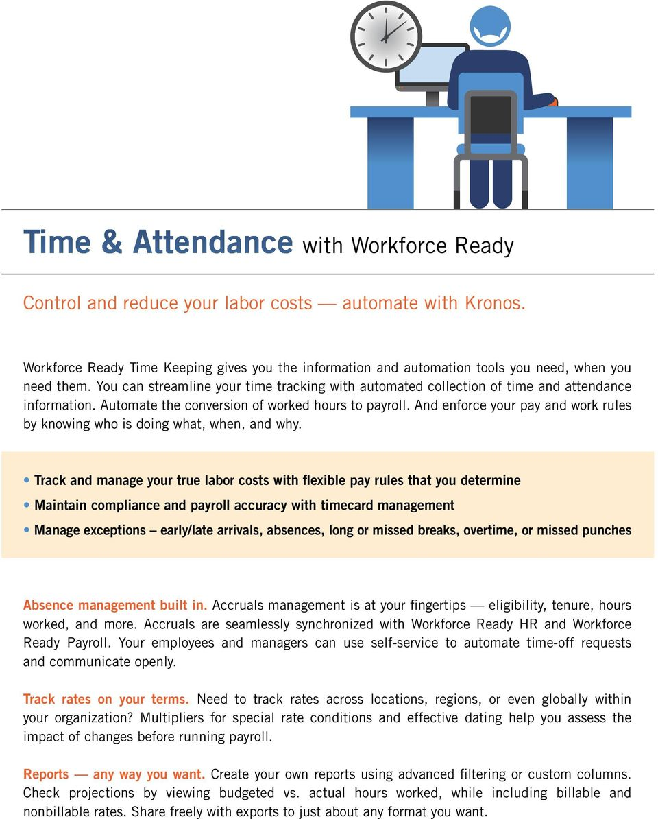 You can streamline your time tracking with automated collection of time and attendance information. Automate the conversion of worked hours to payroll.