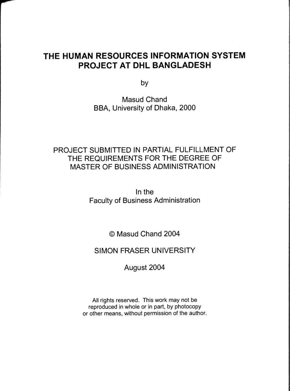 project report on human resource information system pdf