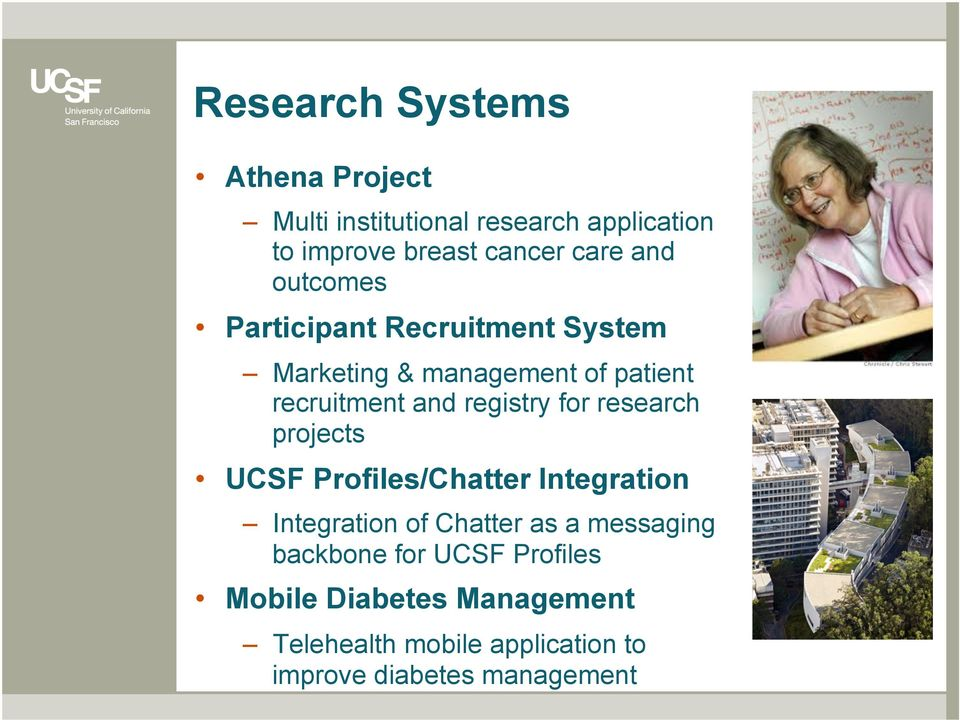 for research projects UCSF Profiles/Chatter Integration Integration of Chatter as a messaging backbone