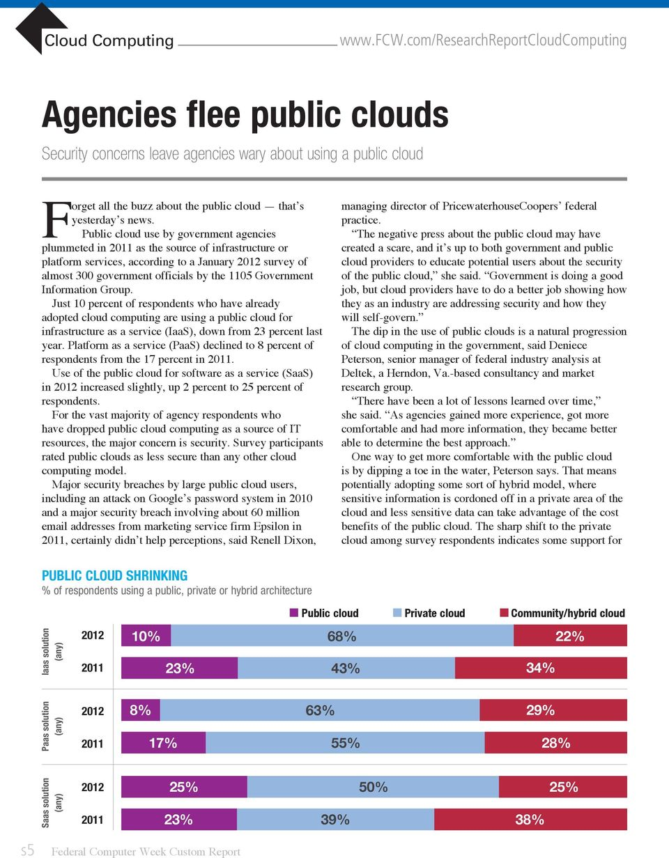 Government Information Group. Just 10 percent of respondents who have already adopted cloud computing are using a public cloud for infrastructure as a service (IaaS), down from 23 percent last year.