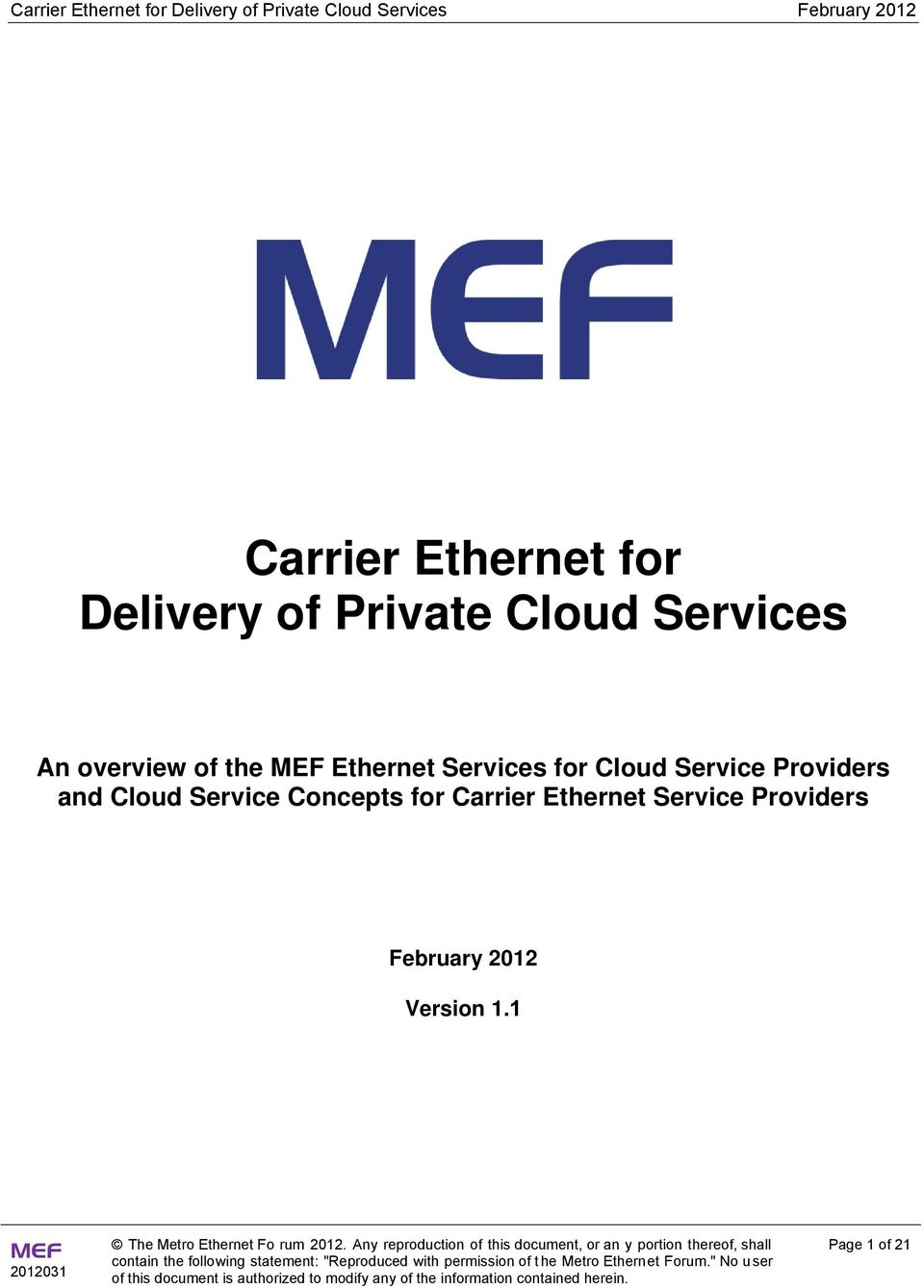 Providers and Cloud Service Concepts for Carrier