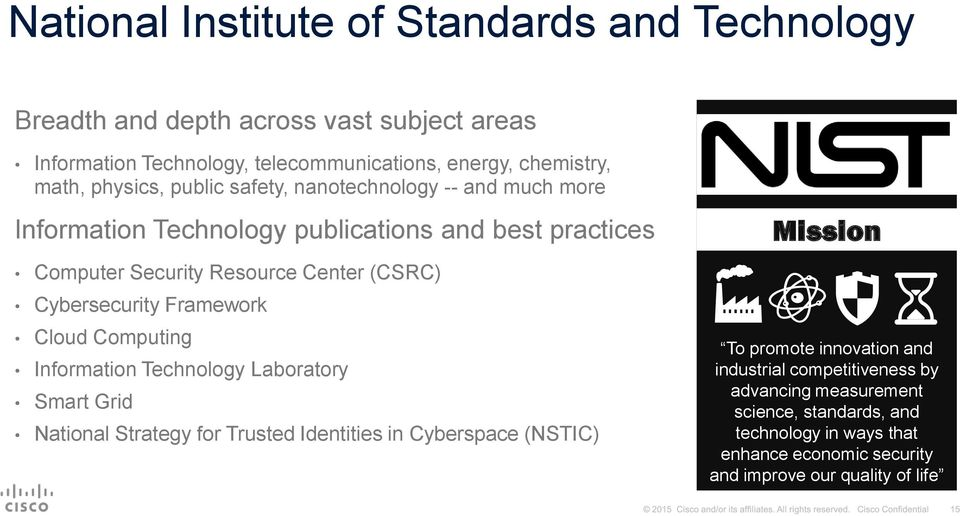 Cybersecurity Framework Cloud Computing Information Technology Laboratory Smart Grid National Strategy for Trusted Identities in Cyberspace (NSTIC) Mission To