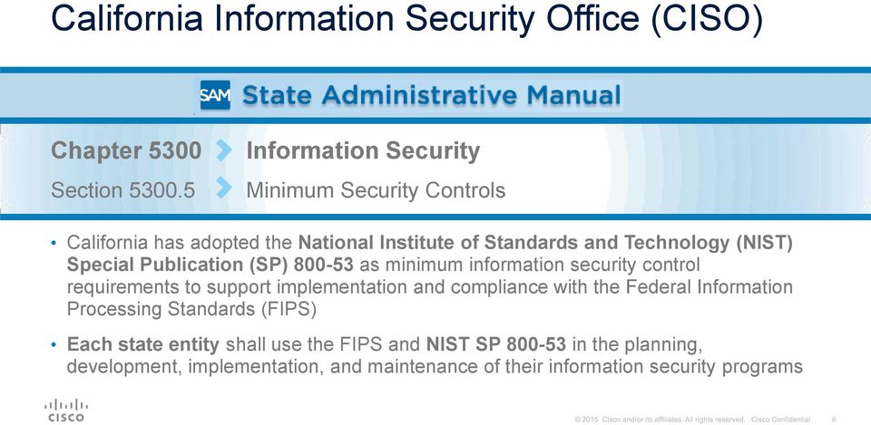 Special Publication (SP) 800-53 as minimum information security control requirements to support implementation and compliance with the