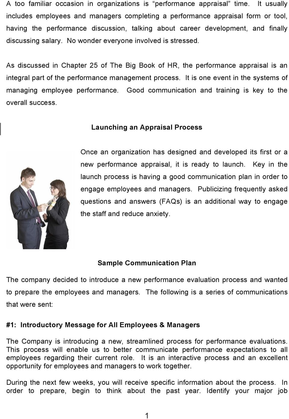 launching an appraisal process sample communication plan pdf no wonder everyone involved is stressed as discussed in chapter 25 of the big book