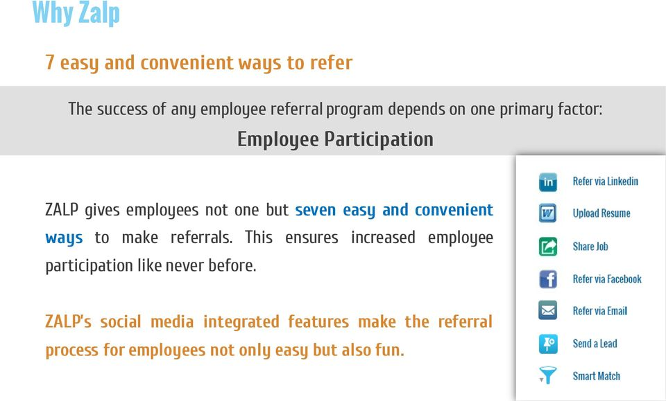 convenient ways to make referrals. This ensures increased employee participation like never before.