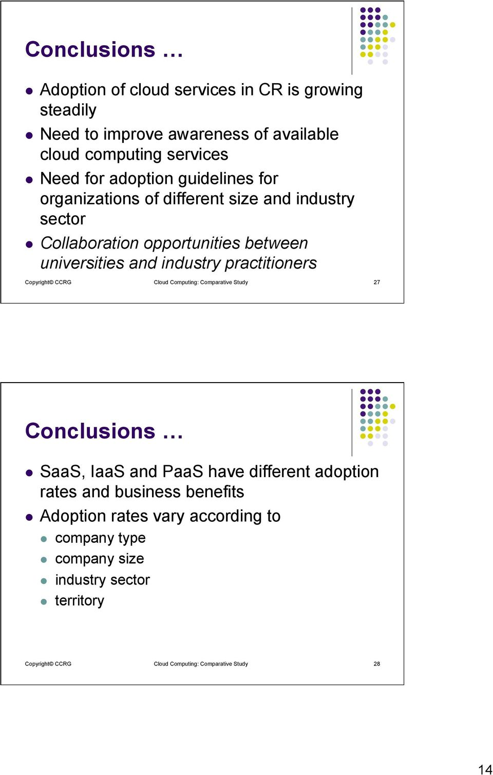 practitioners Copyright CCRG Cloud Computing: Comparative Study 27 Conclusions l SaaS, IaaS and PaaS have different adoption rates and business