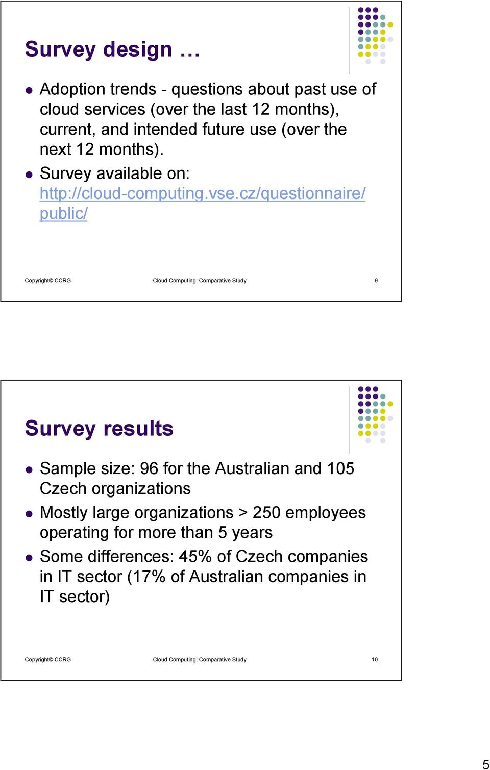 cz/questionnaire/ public/ Copyright CCRG Cloud Computing: Comparative Study 9 Survey results l Sample size: 96 for the Australian and 105 Czech