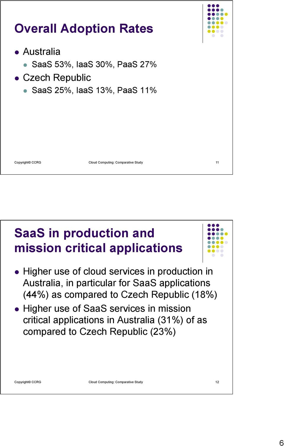 production in Australia, in particular for SaaS applications (44%) as compared to Czech Republic (18%) l Higher use of SaaS services