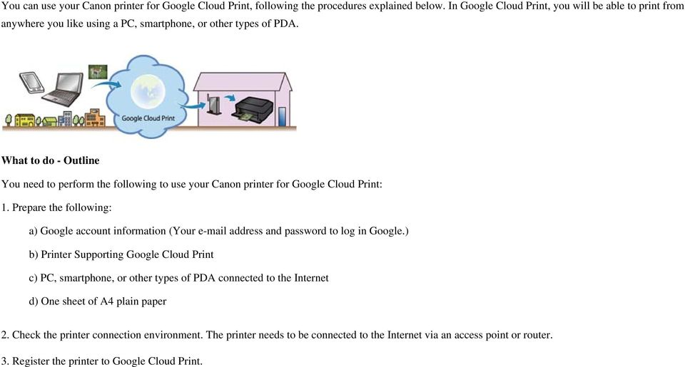 What to do - Outline You need to perform the following to use your Canon printer for Google Cloud Print: 1.
