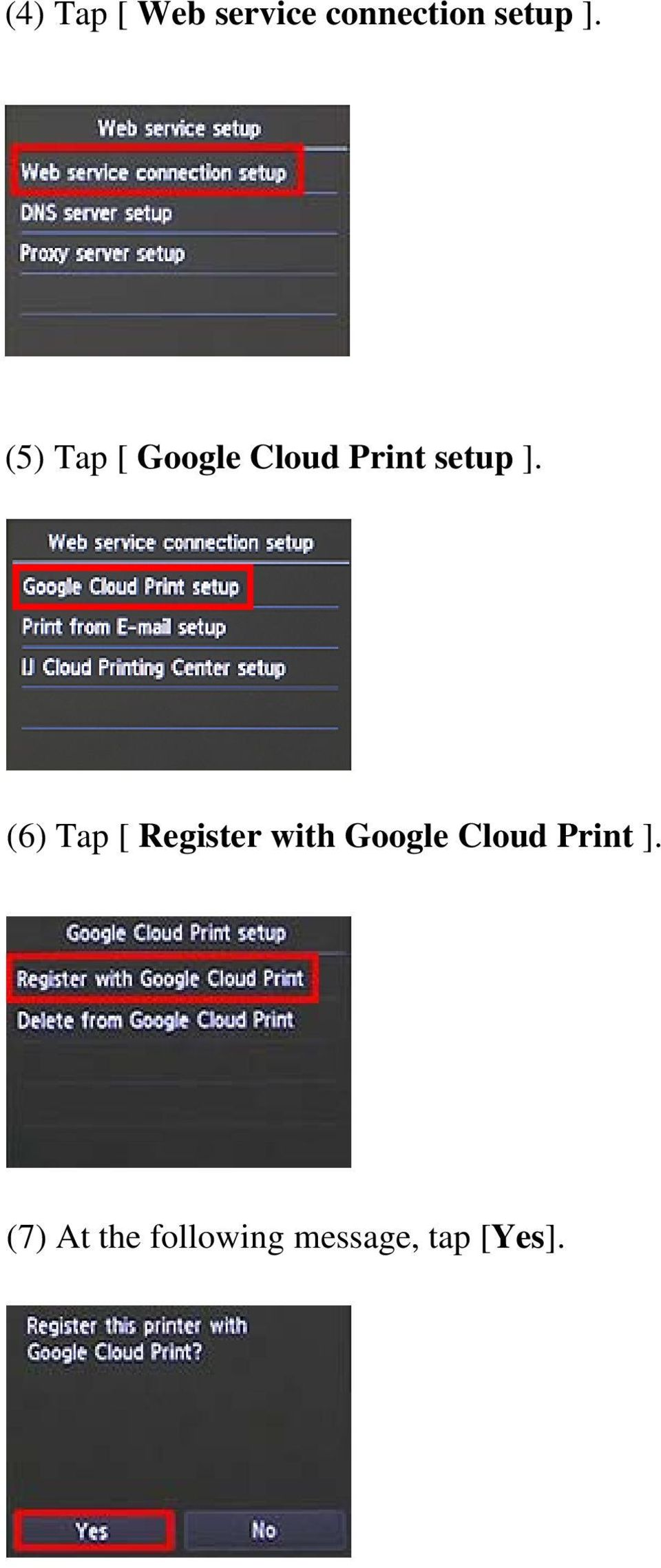 (6) Tap [ Register with Google Cloud