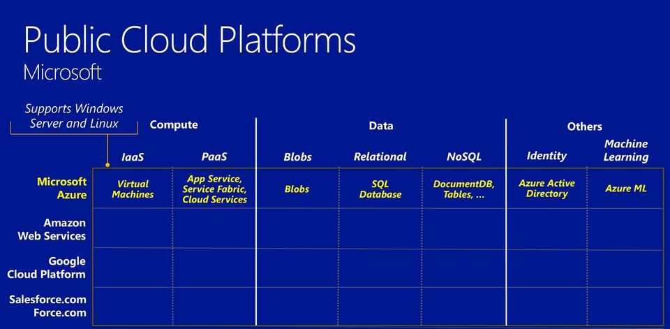 Service, Service Fabric, Cloud Services Blobs SQL Database DocumentDB, Tables, Azure