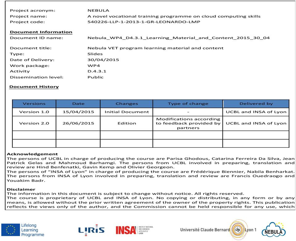 0 15/04/2015 Initial Document - UCBL and INSA of Lyon Version 2.