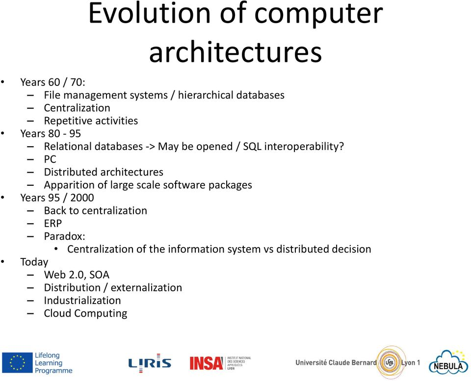 PC Distributed architectures Apparition of large scale software packages Years 95 / 2000 Back to centralization ERP