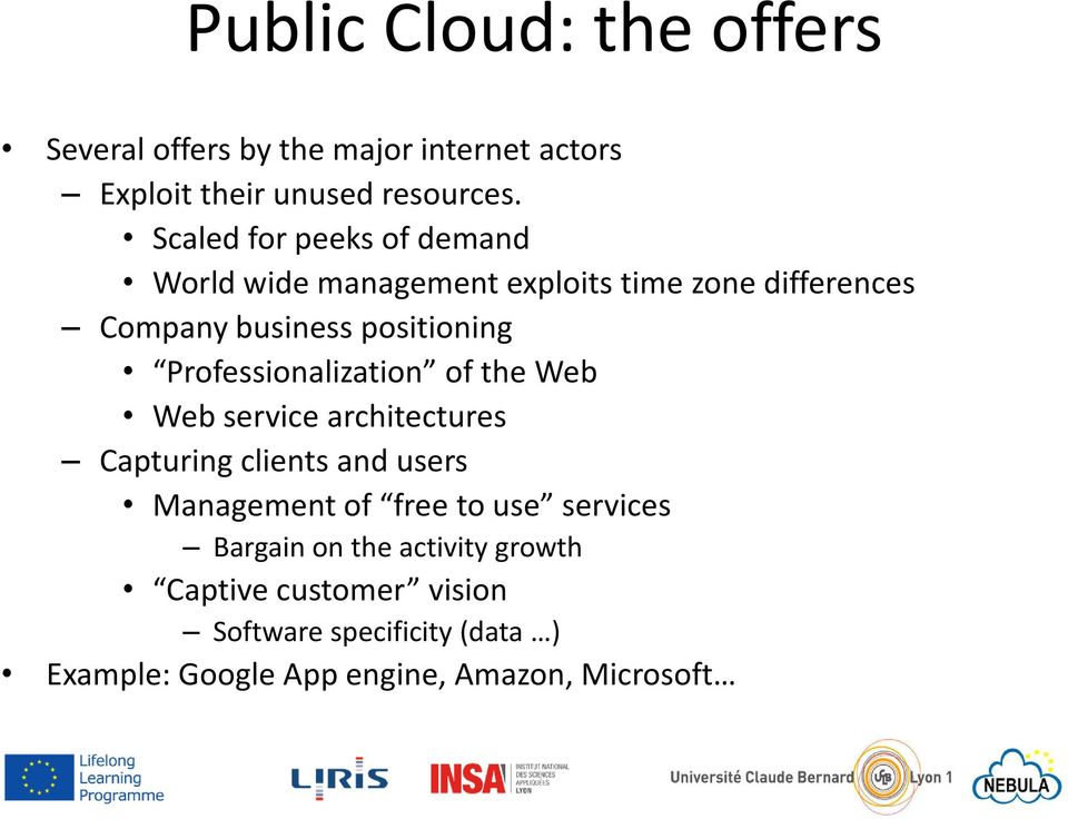 Professionalization of the Web Web service architectures Capturing clients and users Management of free to use