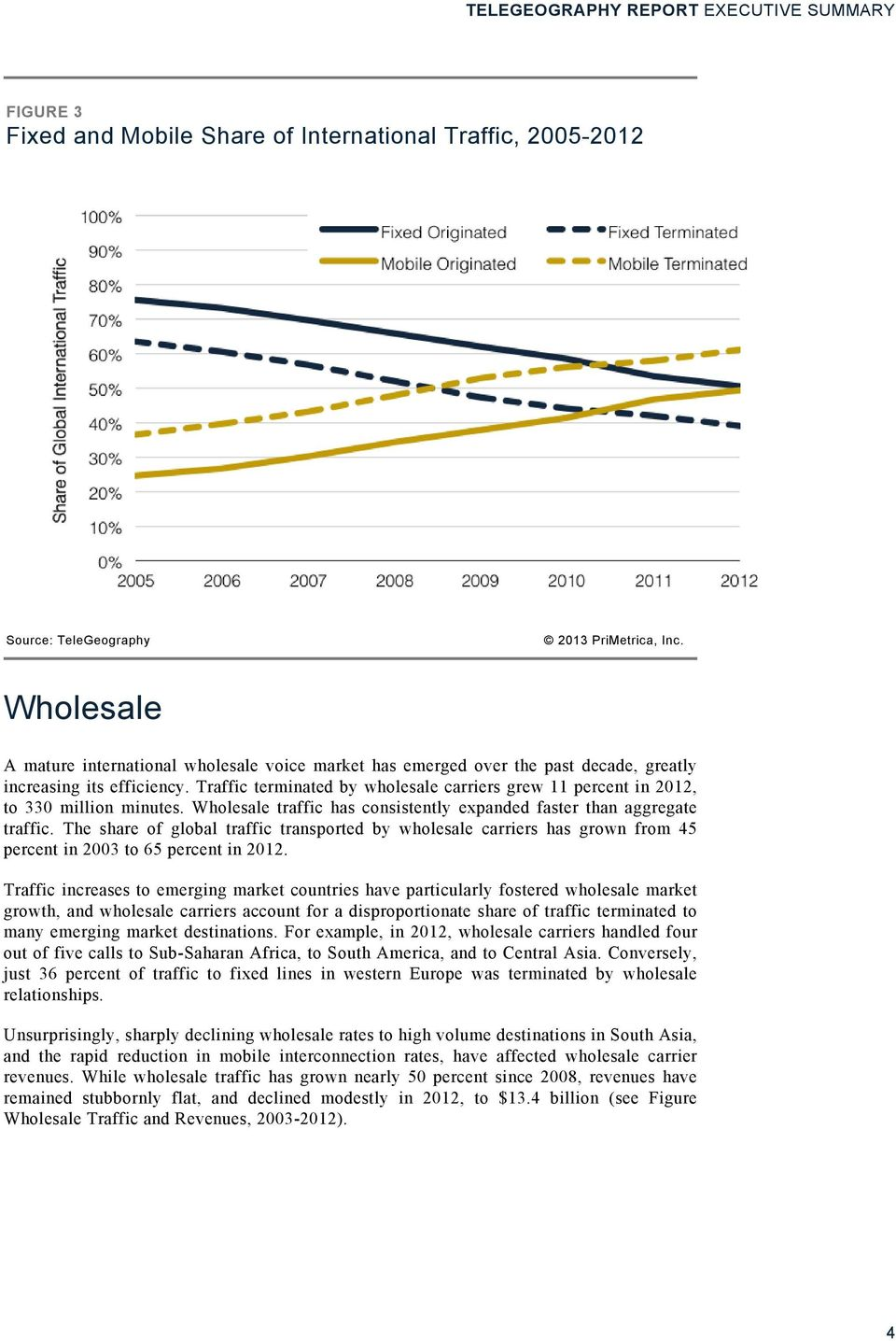 The share of global traffic transported by wholesale carriers has grown from 45 percent in 2003 to 65 percent in 2012.
