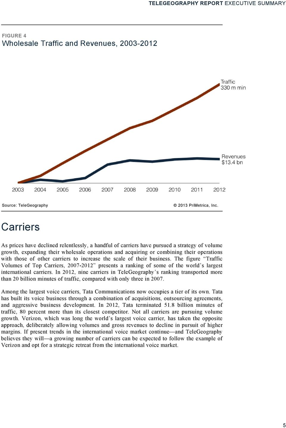 The figure Traffic Volumes of Top Carriers, 2007-2012 presents a ranking of some of the world s largest international carriers.