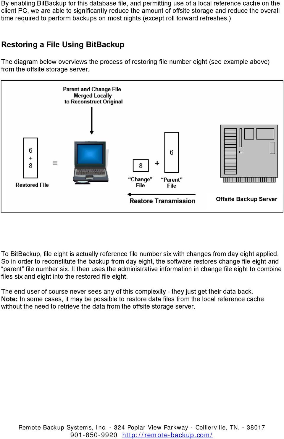 ) Restoring a File Using BitBackup The diagram below overviews the process of restoring file number eight (see example above) from the offsite storage server.