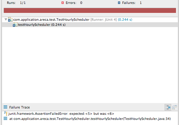 Below shows two screenshots of running JUnit tests: one to ensure that an assert method failed (Figure 6.2), and another to ensure that it succeeded (Figure 6.3).