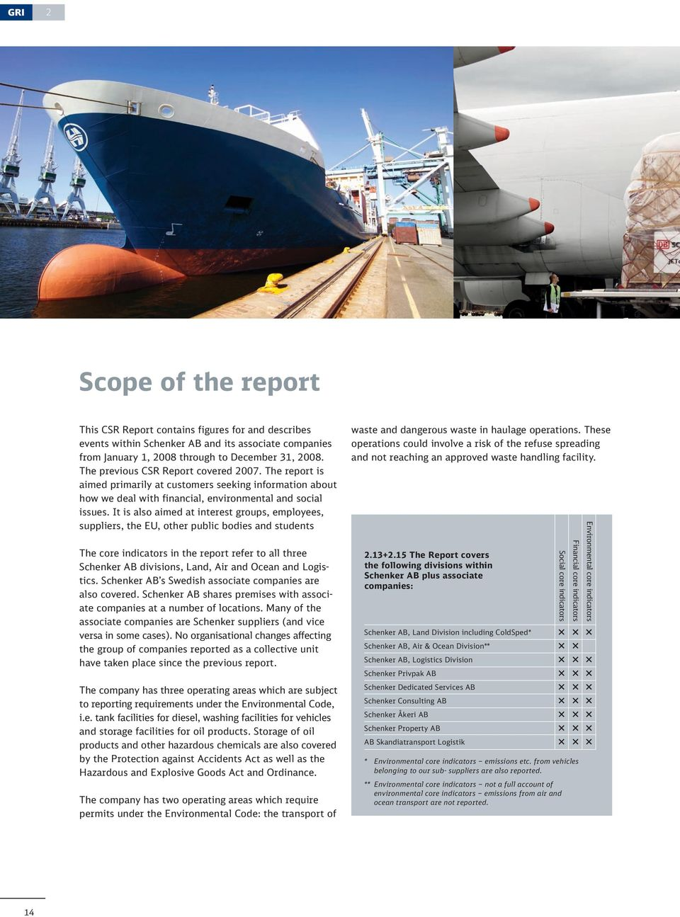 It is also aimed at interest groups, employees, suppliers, the EU, other public bodies and students The core indicators in the report refer to all three Schenker AB divisions, Land, Air and Ocean and