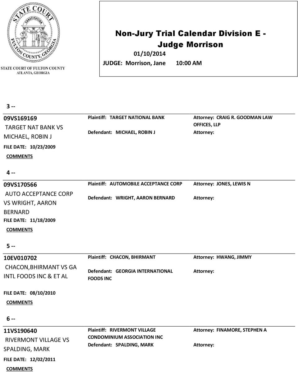 Defendant: WRIGHT, AARON BERNARD 5 -- 10EV010702 CHACON,BHIRMANT VS GA INTL FOODS INC & ET AL Plaintiff: CHACON, BHIRMANT Defendant: GEORGIA INTERNATIONAL FOODS INC