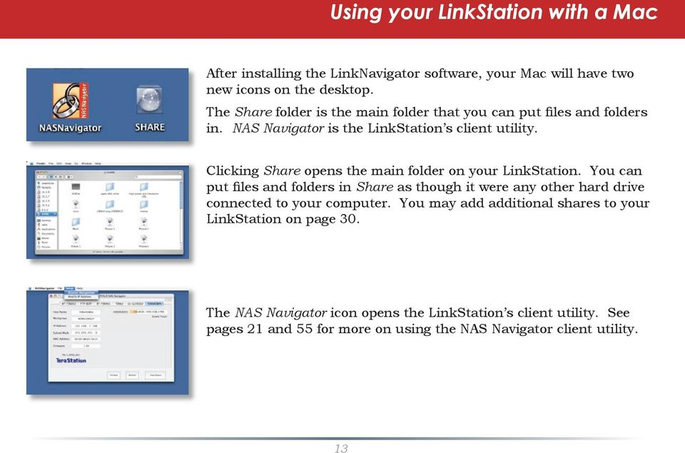 Clicking Share opens the main folder on your LinkStation.