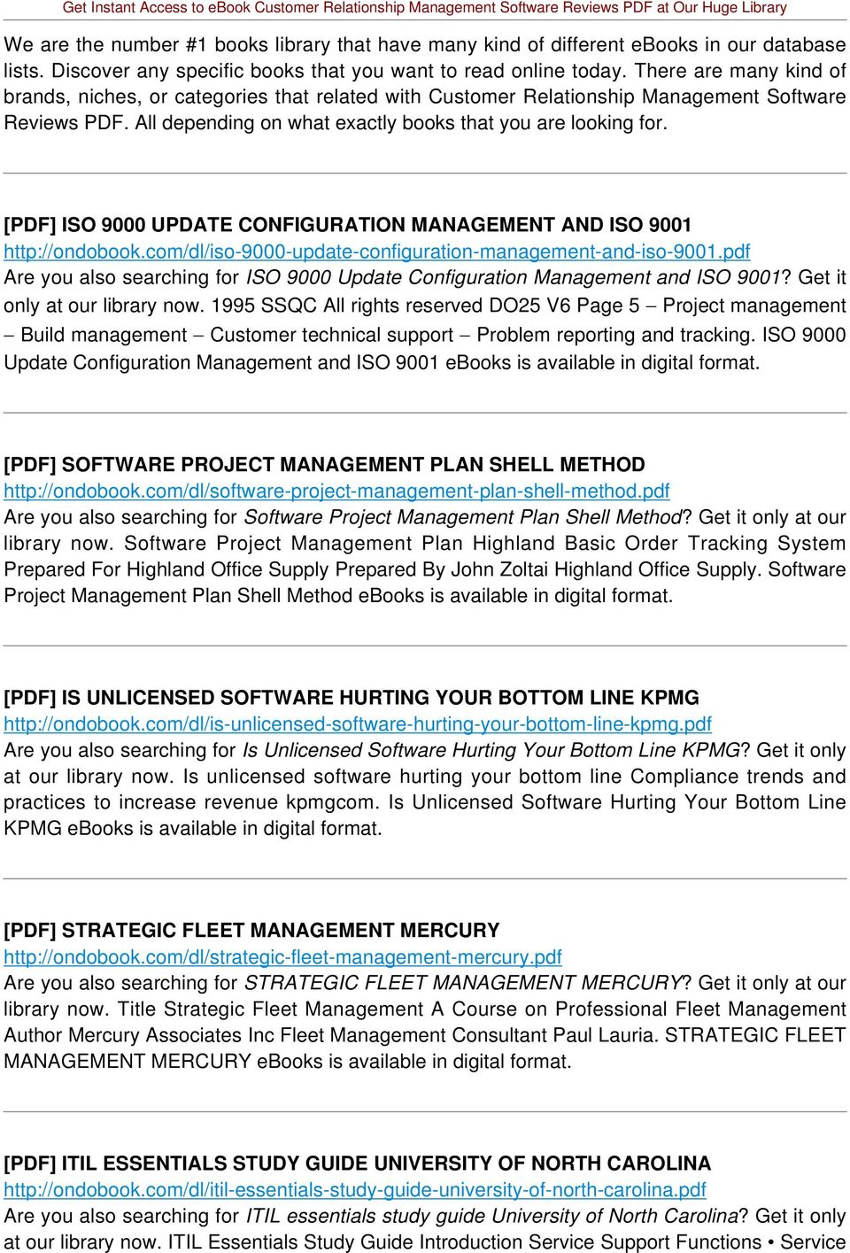 [PDF] ISO 9000 UPDATE CONFIGURATION MANAGEMENT AND ISO 9001 http://ondobook.com/dl/iso-9000-update-configuration-management-and-iso-9001.