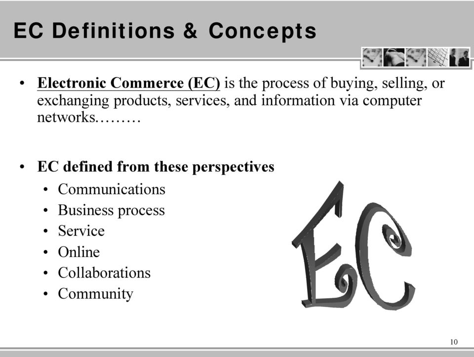 information via computer networks EC defined from these