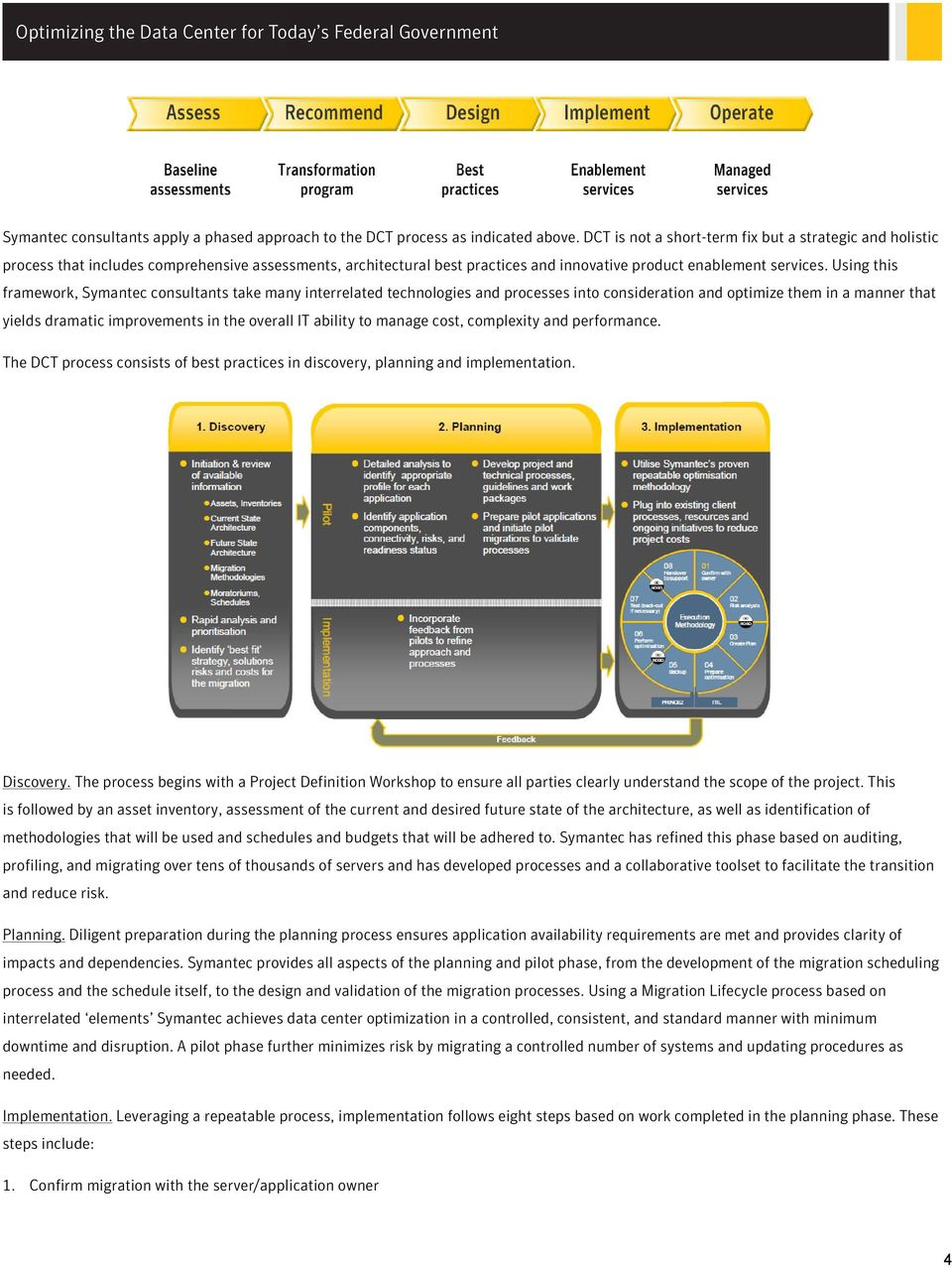 Using this framework, Symantec consultants take many interrelated technologies and processes into consideration and optimize them in a manner that yields dramatic improvements in the overall IT