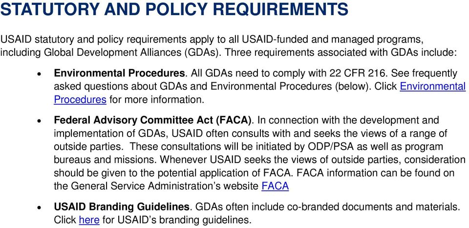 Click Environmental Procedures for more information. Federal Advisory Committee Act (FACA).