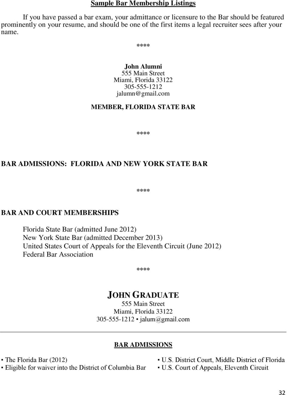 com MEMBER, FLORIDA STATE BAR **** BAR ADMISSIONS: FLORIDA AND NEW YORK STATE BAR **** BAR AND COURT MEMBERSHIPS Florida State Bar (admitted June 2012) New York State Bar (admitted December 2013)