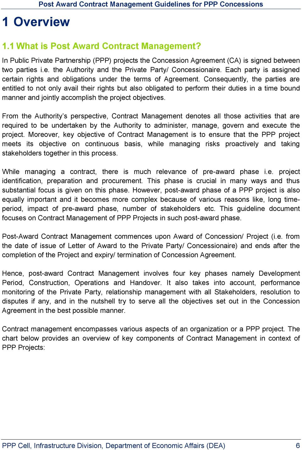 Guidelines For Post Award Contract Management For Ppp Concessions Pdf