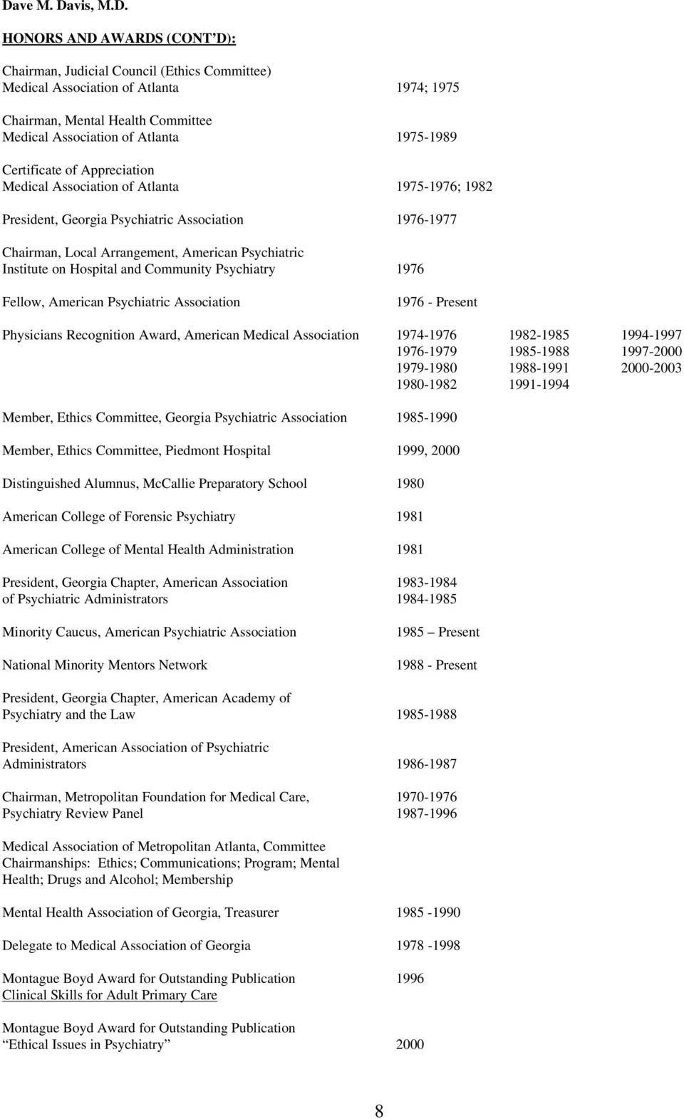 and Community Psychiatry 1976 Fellow, American Psychiatric Association 1976 - Present Physicians Recognition Award, American Medical Association 1974-1976 1982-1985 1994-1997 1976-1979 1985-1988