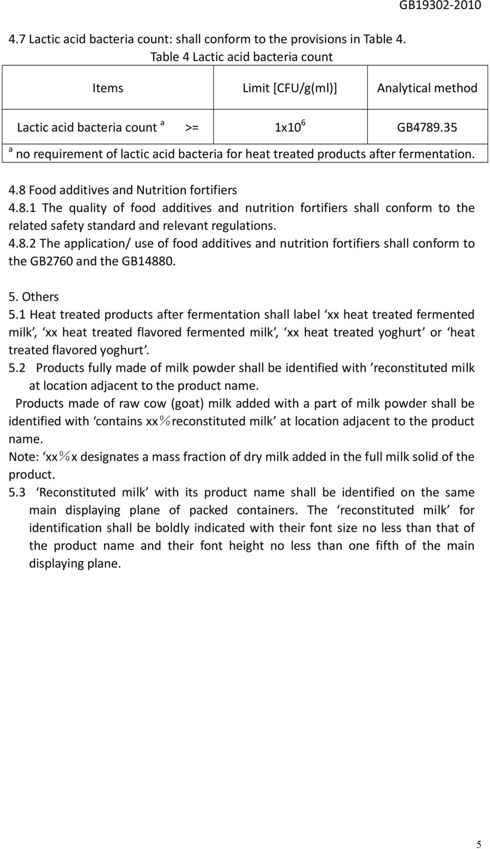 35 a no requirement of lactic acid bacteria for heat treated products after fermentation. 4.8