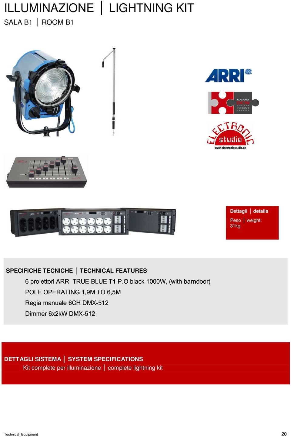 1,9M DMX-512 TO 6,5M SPECIFICHE TECNICHE TECHNICAL FEATURES Peso weight: 31kg