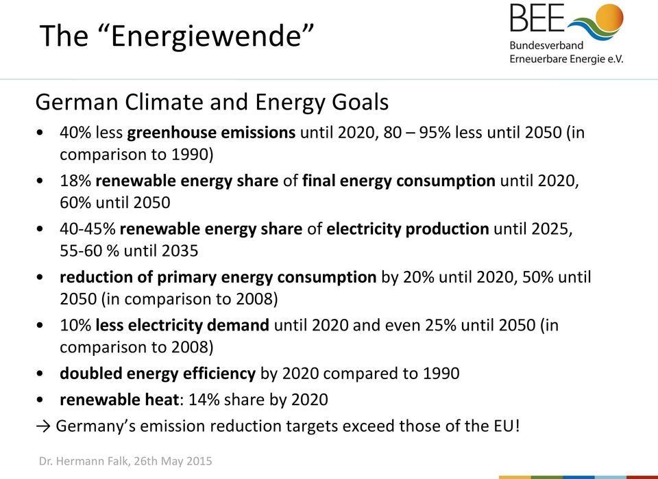 of primary energy consumption by 20% until 2020, 50% until 2050 (in comparison to 2008) 10% less electricity demand until 2020 and even 25% until 2050 (in