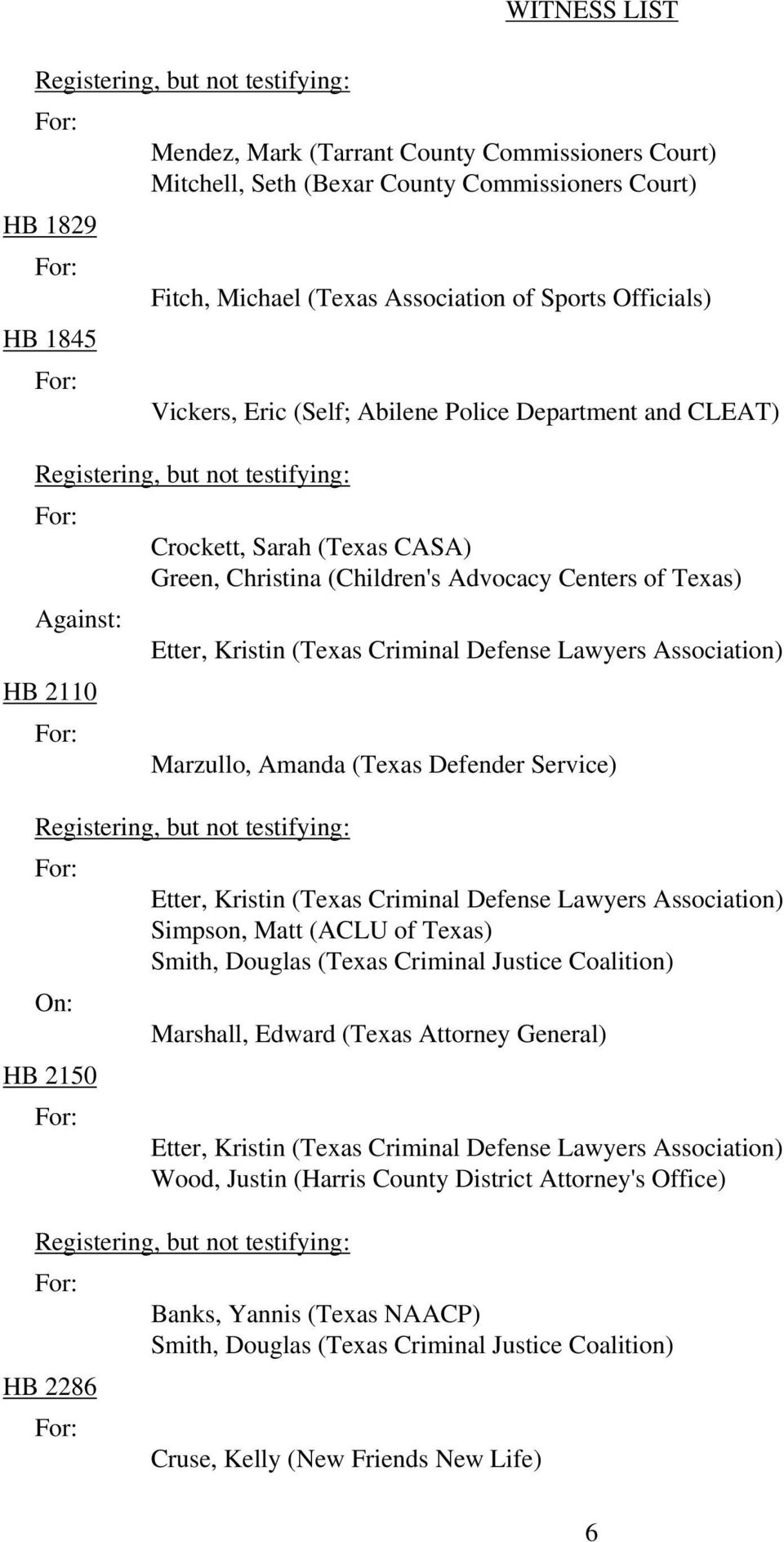 Centers of Texas) Marzullo, Amanda (Texas Defender Service) HB 2150 Smith, Douglas (Texas Criminal Justice Coalition) Marshall, Edward (Texas Attorney