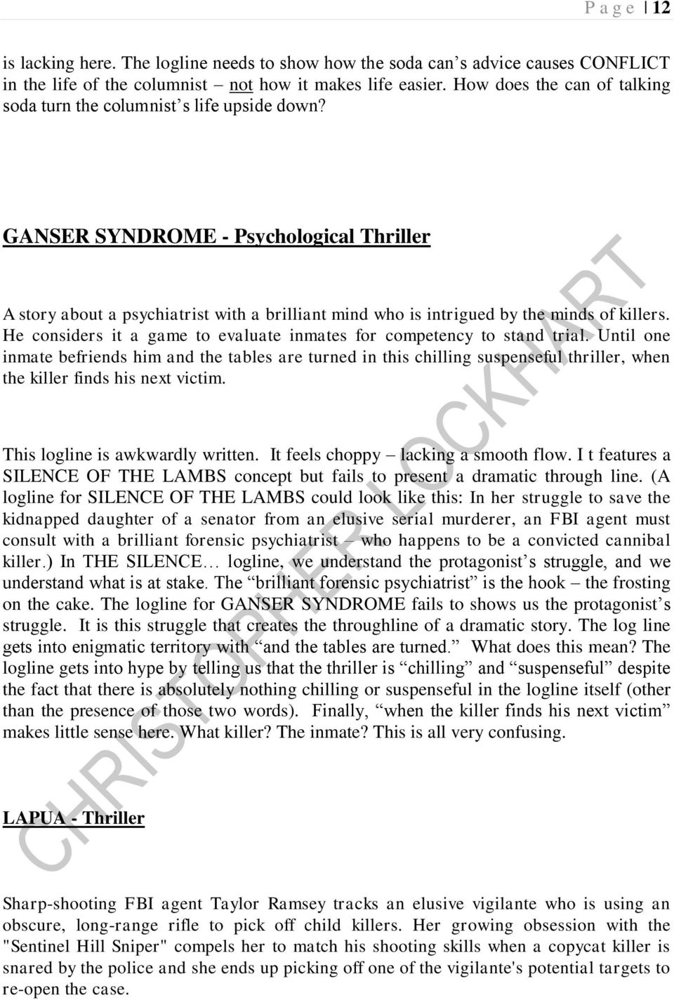 GANSER SYNDROME - Psychological Thriller A story about a psychiatrist with a brilliant mind who is intrigued by the minds of killers.