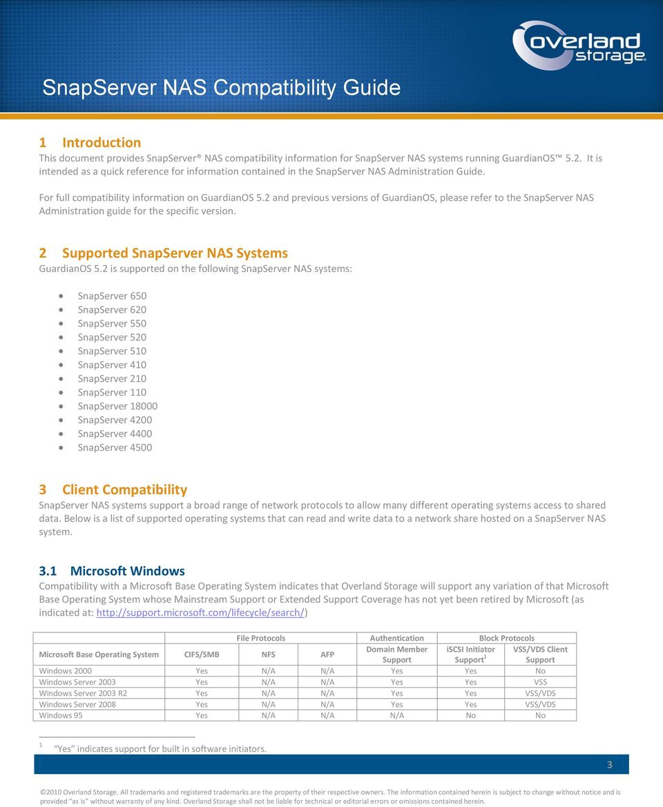 2 and previous versions of GuardianOS, please refer to the SnapServer NAS Administration guide for the specific version. 2 ed SnapServer NAS Systems GuardianOS 5.
