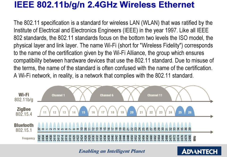 Like all IEEE 802 standards, the 802.11 standards focus on the bottom two levels the ISO model, the physical layer and link layer.