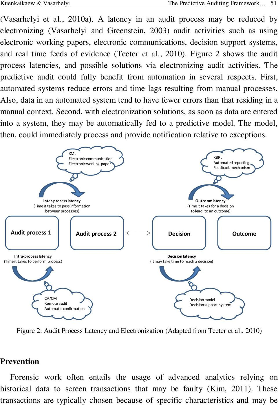 systems, and real time feeds of evidence (Teeter et al., 2010). Figure 2 shows the audit process latencies, and possible solutions via electronizing audit activities.
