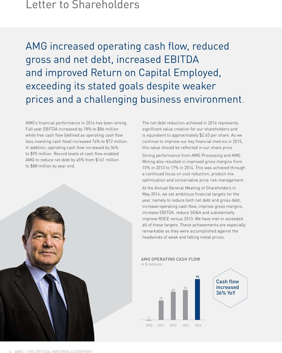 Full year EBITDA increased by 18% to $86 million while free cash flow (defined as operating cash flow less investing cash flow) increased 76% to $72 million.