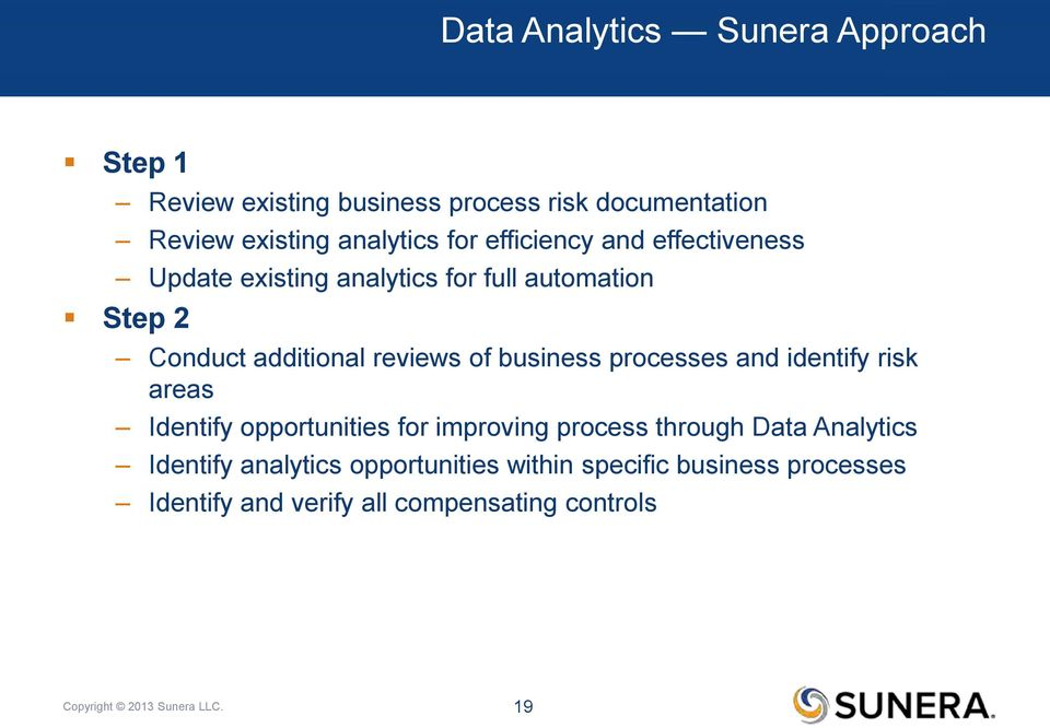 processes and identify risk areas Identify opportunities for improving process through Data Analytics Identify analytics