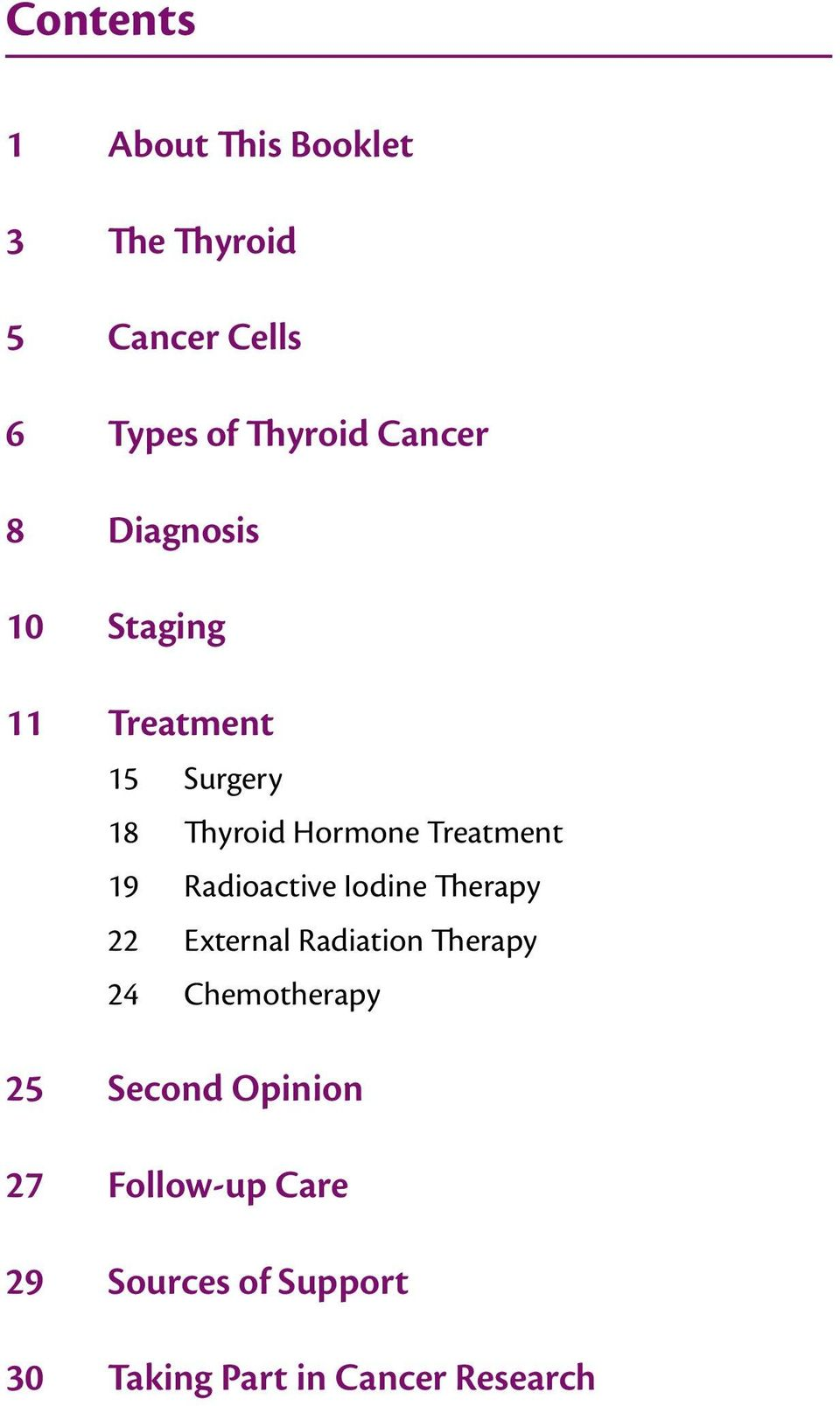 Treatment 19 Radioactive Iodine Therapy 22 External Radiation Therapy 24