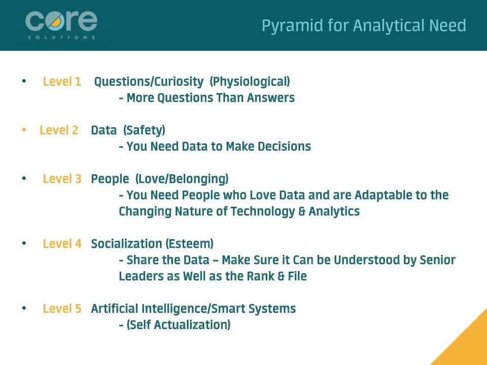 Adaptable to the Changing Nature of Technology & Analytics Level 4 Socialization (Esteem) - Share the Data Make Sure it