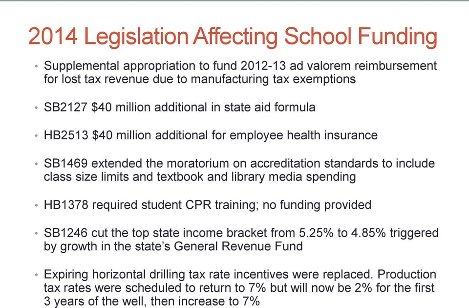 and library media spending HB1378 required student CPR training; no funding provided SB1246 cut the top state income bracket from 5.25% to 4.