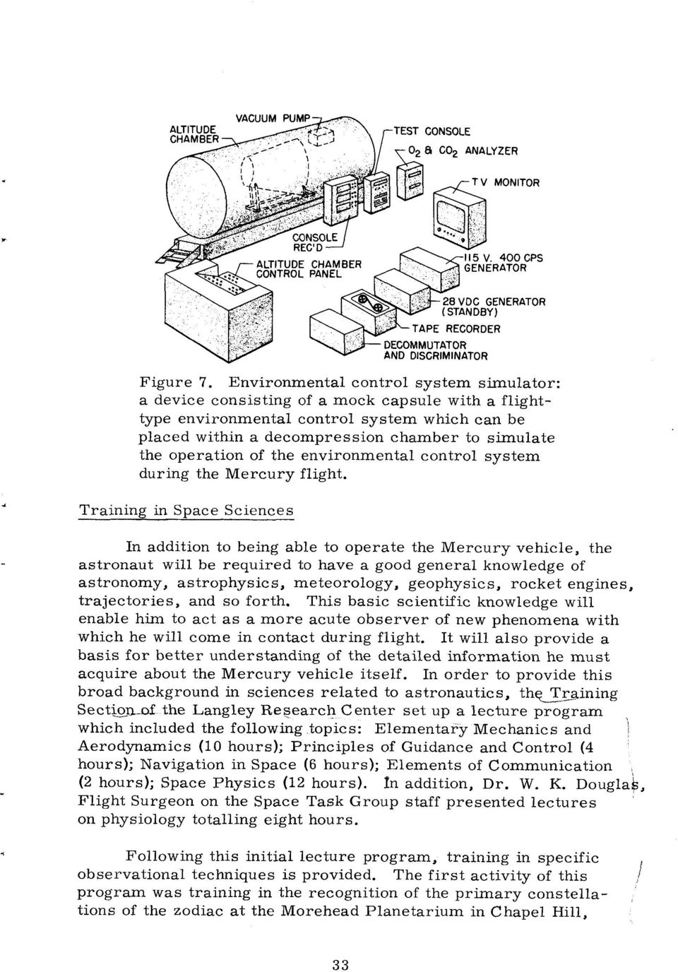 operation of the environmental control system during the Mercury flight.