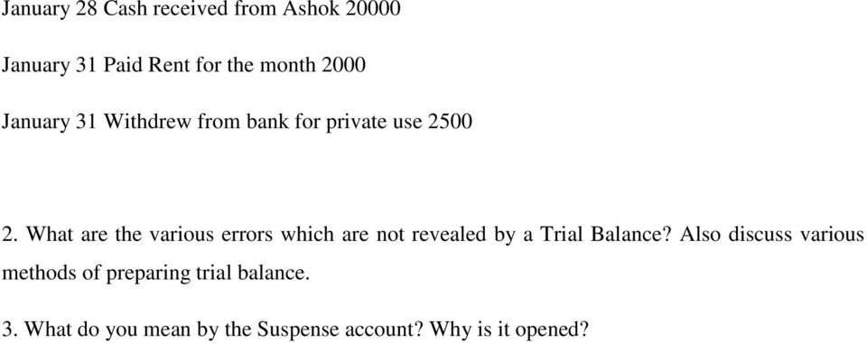 What are the various errors which are not revealed by a Trial Balance?