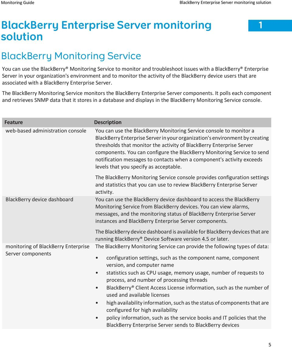 Server. The BlackBerry Monitoring Service monitors the BlackBerry Enterprise Server components.