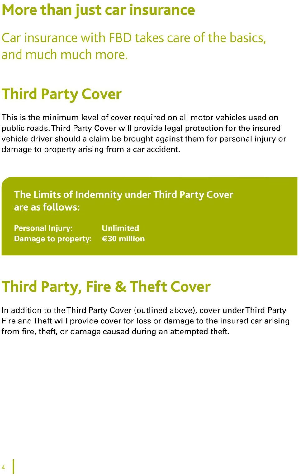 Third Party Cover will provide legal protection for the insured vehicle driver should a claim be brought against them for personal injury or damage to property arising from a car accident.