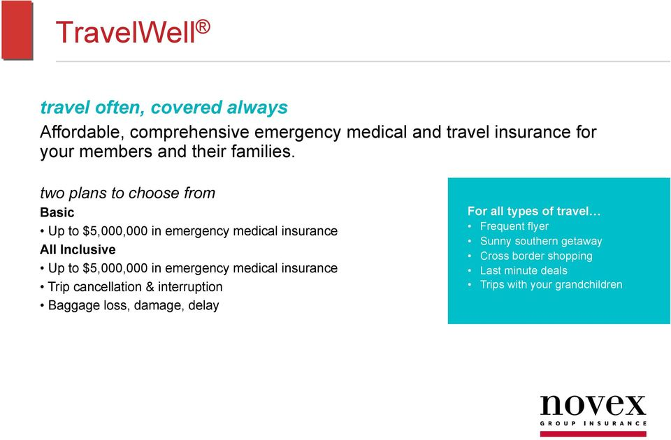 two plans to choose from Basic Up to $5,000,000 in emergency medical insurance All Inclusive Up to $5,000,000 in